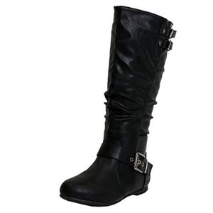Slouched Under Knee High Mid-Calf Buckle Boot BLK